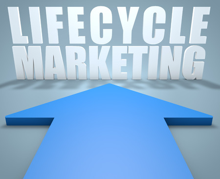 lifecycle: Lifecycle Marketing - 3d render concept of blue arrow pointing to text. Stock Photo