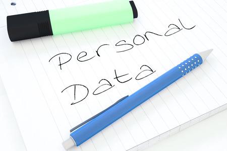 datos personales: Datos Personales - texto escrito a mano en un cuaderno en un escritorio - 3d ilustración. Foto de archivo