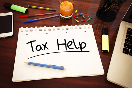 excise: Tax Help - handwritten text in a notebook on a desk - 3d render illustration.