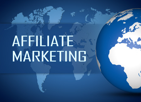 affiliates: Affiliate Marketing concept with globe on blue world map background