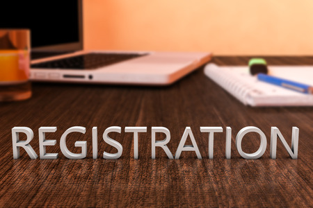 joining services: Registration - letters on wooden desk with laptop computer and a notebook. 3d render illustration.