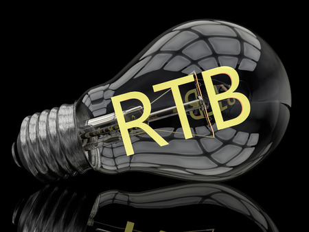 bidding: RTB -  Real Time Bidding - lightbulb on black background with text in it. 3d render illustration.