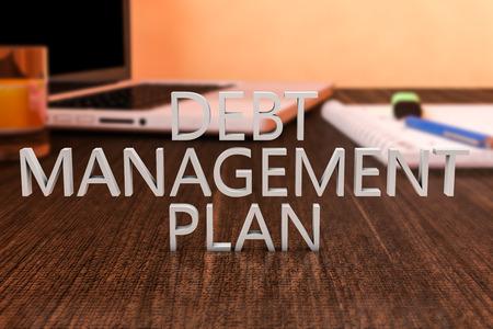 debt management: Debt Management Plan - letters on wooden desk with laptop computer and a notebook. 3d render illustration.