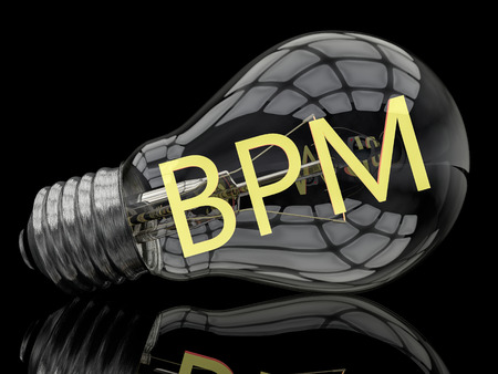 bpm: BPM - Business Process Management - lightbulb on black background with text in it. 3d render illustration.