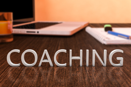 Coaching - letters on wooden desk with laptop computer and a notebook. 3d render illustration. illustration