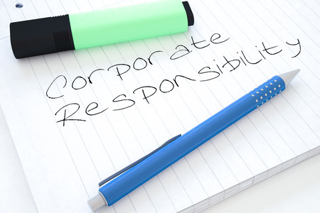 business roles: Corporate Responsibility - handwritten text in a notebook on a desk - 3d render illustration. Stock Photo