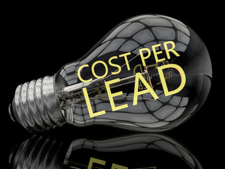 cpl: Cost per Lead - lightbulb on black background with text in it. 3d render illustration.