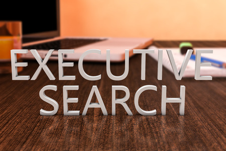 executive search: Executive Search - letters on wooden desk with laptop computer and a notebook. 3d render illustration. Stock Photo