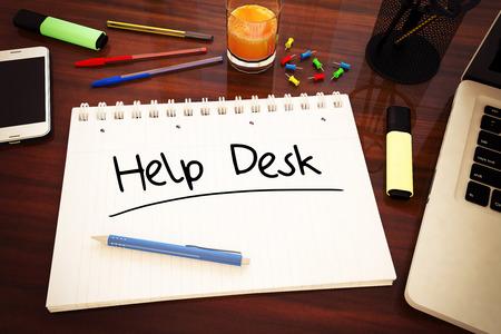 customer assistant: Help Desk - handwritten text in a notebook on a desk - 3d render illustration.