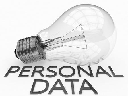 datos personales: Datos Personales - bombilla sobre fondo blanco con el texto debajo de ella. 3d ilustración. Foto de archivo