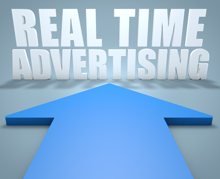 rta: Real Time Advertising - 3d render concept of blue arrow pointing to text.