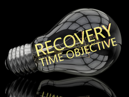 disruption: Recovery Time Objective - lightbulb on black background with text in it. 3d render illustration. Stock Photo