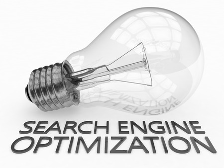 keywords link: Search Engine Optimization - lightbulb on white background with text under it. 3d render illustration. Stock Photo