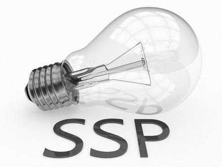 online bidding: SSP - Supply Side Platform - lightbulb on white background with text under it. 3d render illustration.