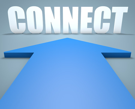Connect - 3d render concept of blue arrow pointing to text. photo