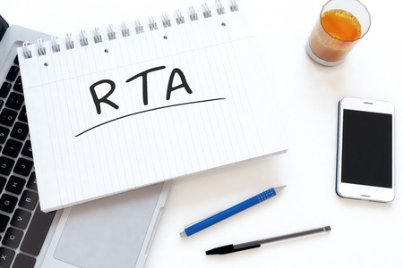 rta: RTA - Real Time Advertising - handwritten text in a notebook on a desk - 3d render illustration.