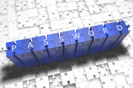 Password - puzzle 3d render illustration with block letters on blue jigsaw pieces Stockfoto
