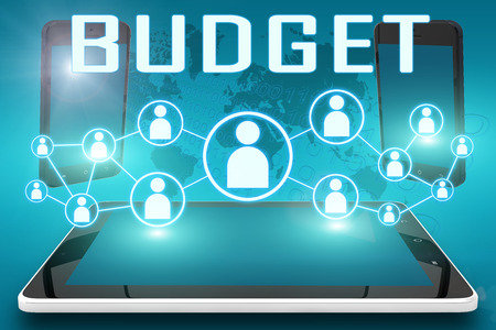 pay cuts: Budget - text illustration with social icons and tablet computer and mobile cellphones on cyan digital world map background
