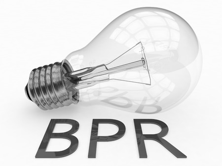 business process reengineering: BPR - Business Process Reengineering - lightbulb on white background with text under it. 3d render illustration. Stock Photo