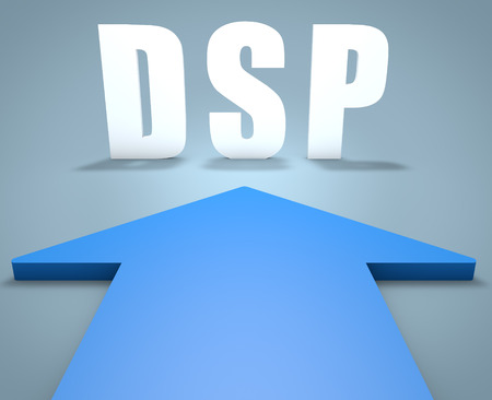 online bidding: DSP - Demand Side Platform - 3d render concept of blue arrow pointing to text.