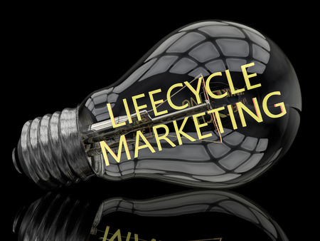 lifecycle: Lifecycle Marketing - lightbulb on black background with text in it. 3d render illustration.