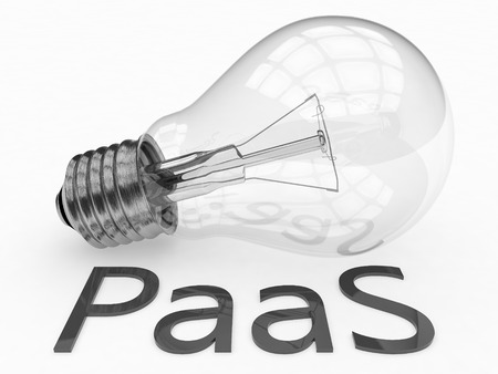 PaaS - Platform as a Service - lightbulb on white background with text under it. 3d render illustration. illustration