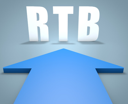 bidding: RTB - Real Time Bidding - 3d render concept of blue arrow pointing to text.