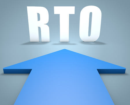 disruption: RTO - Recovery Time Objective - 3d render concept of blue arrow pointing to text.