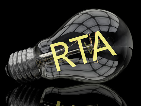 rta: RTA - Real Time Advertising - lightbulb on black background with text in it. 3d render illustration.