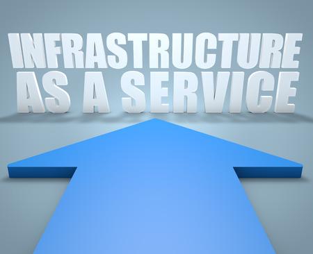 par�?s: Infraestructura como Servicio - 3d concepto de la flecha azul que apunta a texto.