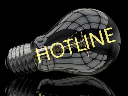 warranty questions: Hotline - lightbulb on black background with text in it. 3d render illustration. Stock Photo