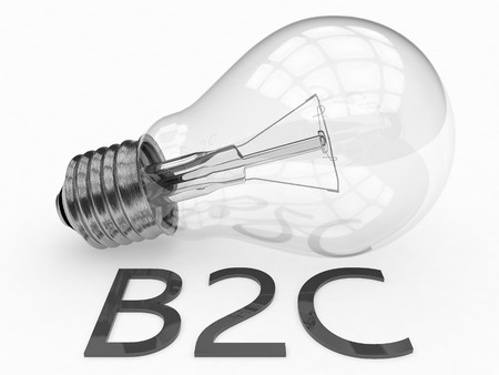 b2c: B2C - Business to Customer - lightbulb on white background with text under it. 3d render illustration.
