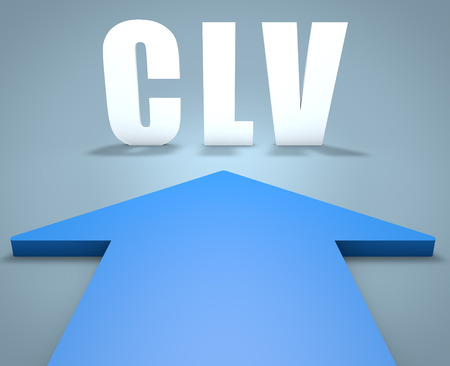 lifetime: CLV - Customer Lifetime Value - 3d render concept of blue arrow pointing to text.