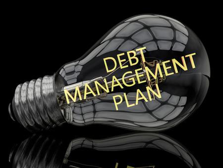 debt management: Debt Management Plan - lightbulb on black background with text in it. 3d render illustration. Stock Photo
