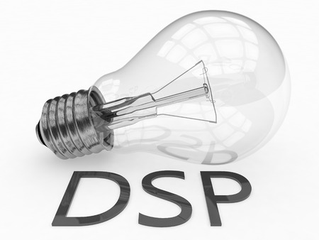 online bidding: DSP - Demand Side Platform - lightbulb on white background with text under it. 3d render illustration. Stock Photo
