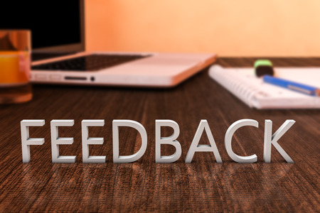 testimonial: Feedback - letters on wooden desk with laptop computer and a notebook. 3d render illustration.