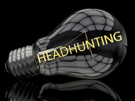 headhunting: Headhunting - lightbulb on black background with text in it. 3d render illustration.