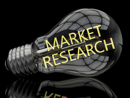 financial market: Market Research - lightbulb on black background with text in it. 3d render illustration.