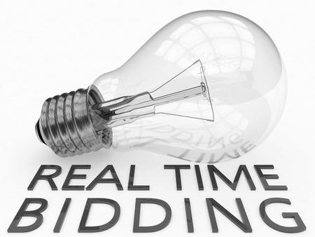bidding: Real Time Bidding - lightbulb on white background with text under it. 3d render illustration.