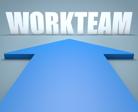 workteam: Workteam - 3d render concept of blue arrow pointing to text.