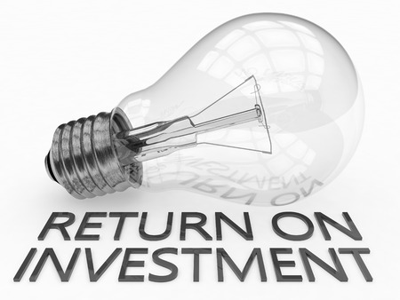 return on investment: Return on Investment - lightbulb on white background with text under it. 3d render illustration.