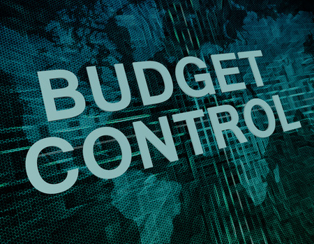 pay cuts: Budget Control text concept on green digital world map background