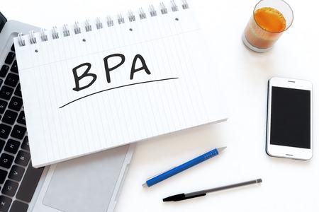 bpm: BPA - Business Process Analysis handwritten text in a notebook on a desk - 3d render illustration.