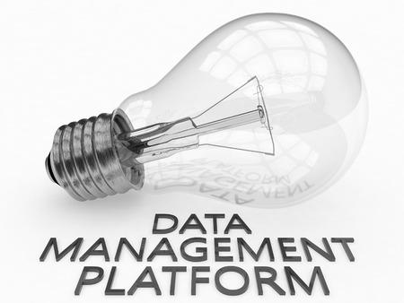 unify: Data Management Platform - lightbulb on white background with text under it. 3d render illustration. Stock Photo