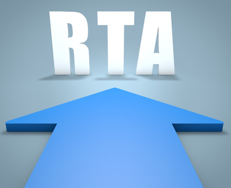 rta: RTA - Real Time Advertising - 3d render concept of blue arrow pointing to text. Stock Photo