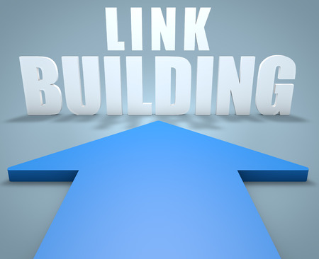 Link Building - 3d render concept of blue arrow pointing to text.