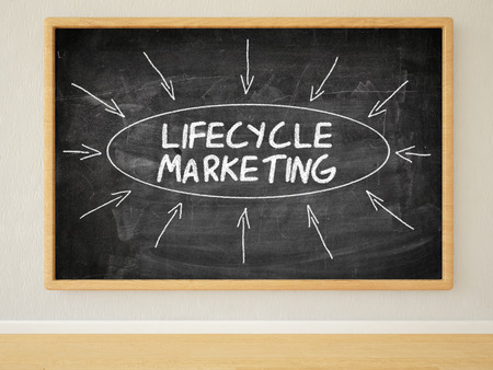 lifecycle: Lifecycle marketing 3d render illustration of text on black chalkboard in a room.