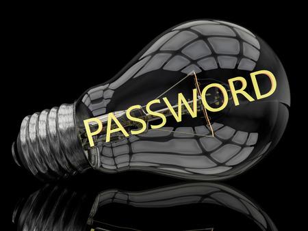 Password - lightbulb on black background with text in it. 3d render illustration. illustration
