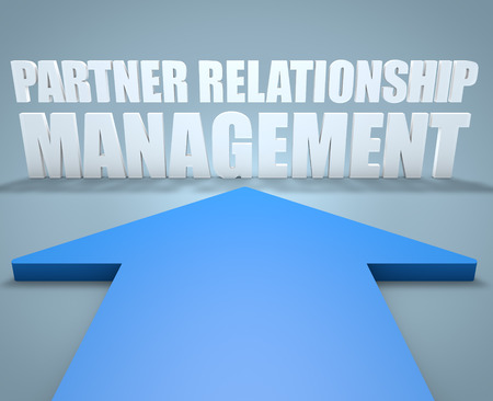 management concept: Partner Relationship Management - 3d render concept of blue arrow pointing to text.