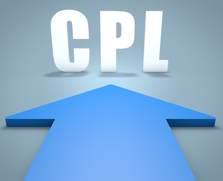 cpl: CPL - Cost per Lead - 3d render concept of blue arrow pointing to text. Stock Photo